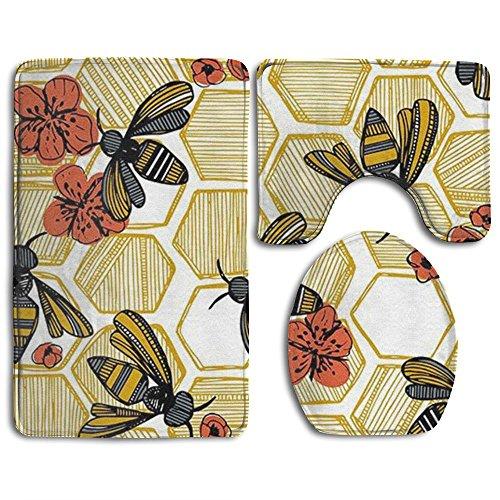 hroom Non-Slip Honey Bee Hexagon Style Pedestal Rug + Lid Toilet Cover + Bath Mat (Hexagon Tower)