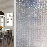 JiaQi Mosaic Window films,No glue static film,Static decorative films Sun protection Thermal insulation Decoration Wc Bathroom Opaque opacity No glue static film-A 60x300cm(24x118inch)