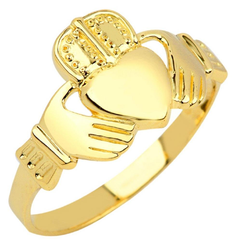 Men's 14k Yellow Gold Solid Band Irish Claddagh Ring (Size 11.5)