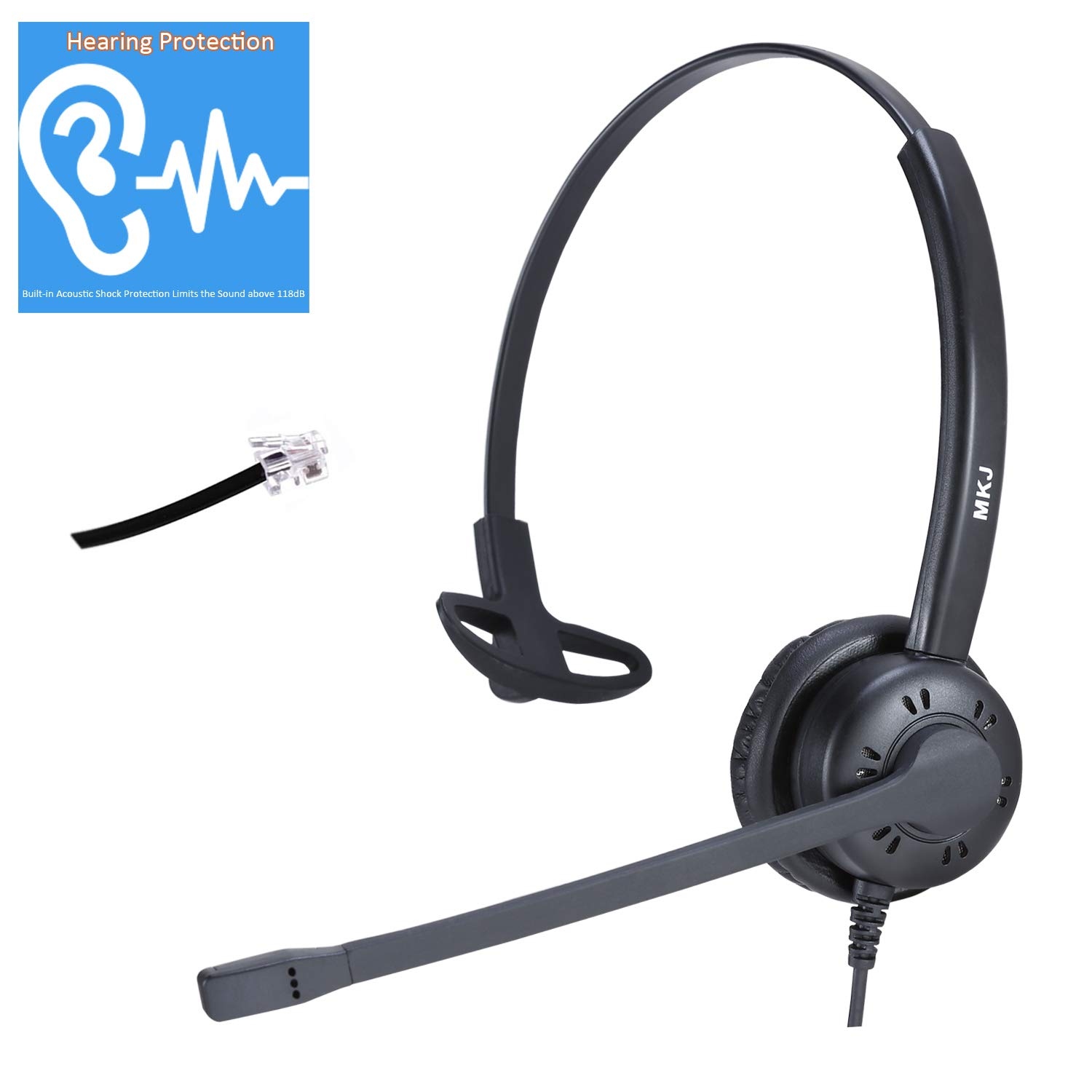 MKJ Corded Phone Headset RJ9 Telephone Headset with Microphone for Cisco Phone 7962, 7965, 7975, 7941, 7942, 7841 etc