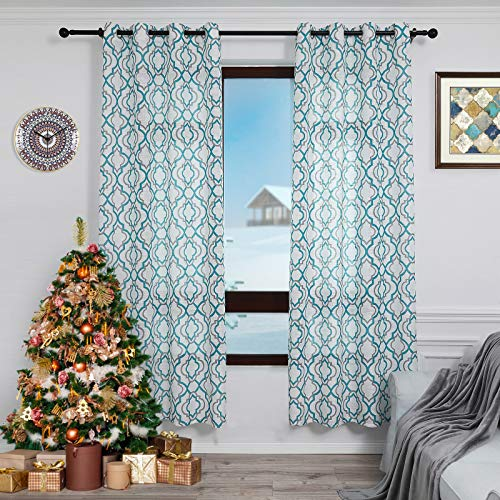 Lofus Moroccan Sheer Curtains 84-Inch Length for Living Room, Grommet Top Semi-Sheer Airy Country Panels for Dinning Room, 50 x 84 Inches Long, Set of 2 Window Curtain Panels, Teal Blue
