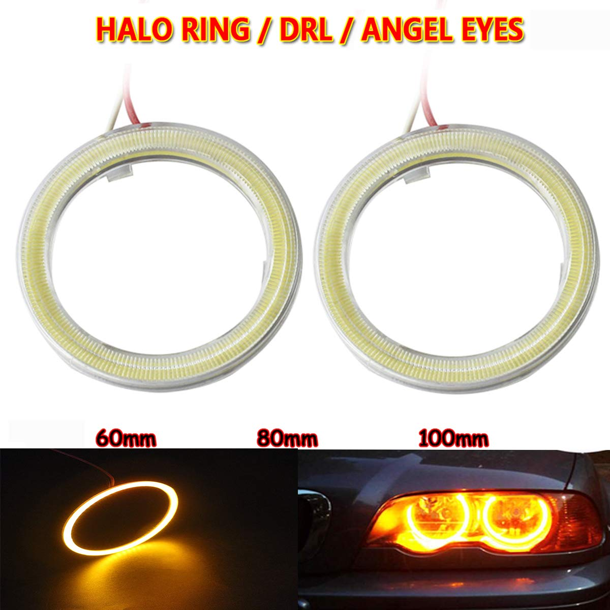 Amber, 60MM 2 Pack Car Angel Eyes Led COB Headlight Halo Ring Warning Lamp Daytime Running Lights DC 12V Circle Ring Headlight Lamp with Plastic Cover Yellow//White Lights