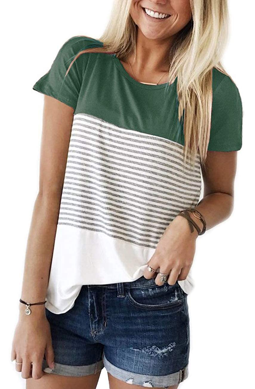 Womens Round Neck Striped Color Block T-Shirt Long Sleeve Casual Loose Tunic Blouse and Tops