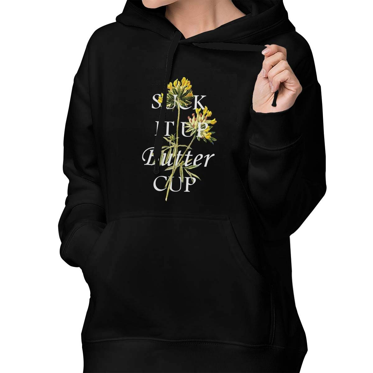 Lponvx Suck It Up Buttercup Inspiring Words Women Girl Fashion Sweatshirts Jackets Coats with Drawstring Hood