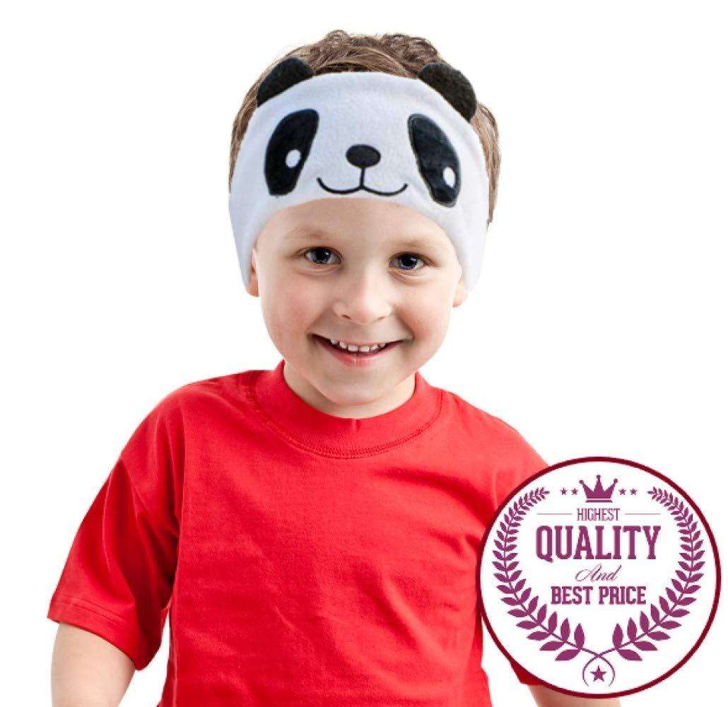 Auriculares Charlxee Niños Cozy y Plegable Headband Toddler para Air Viaje or Home - Blanco Panda