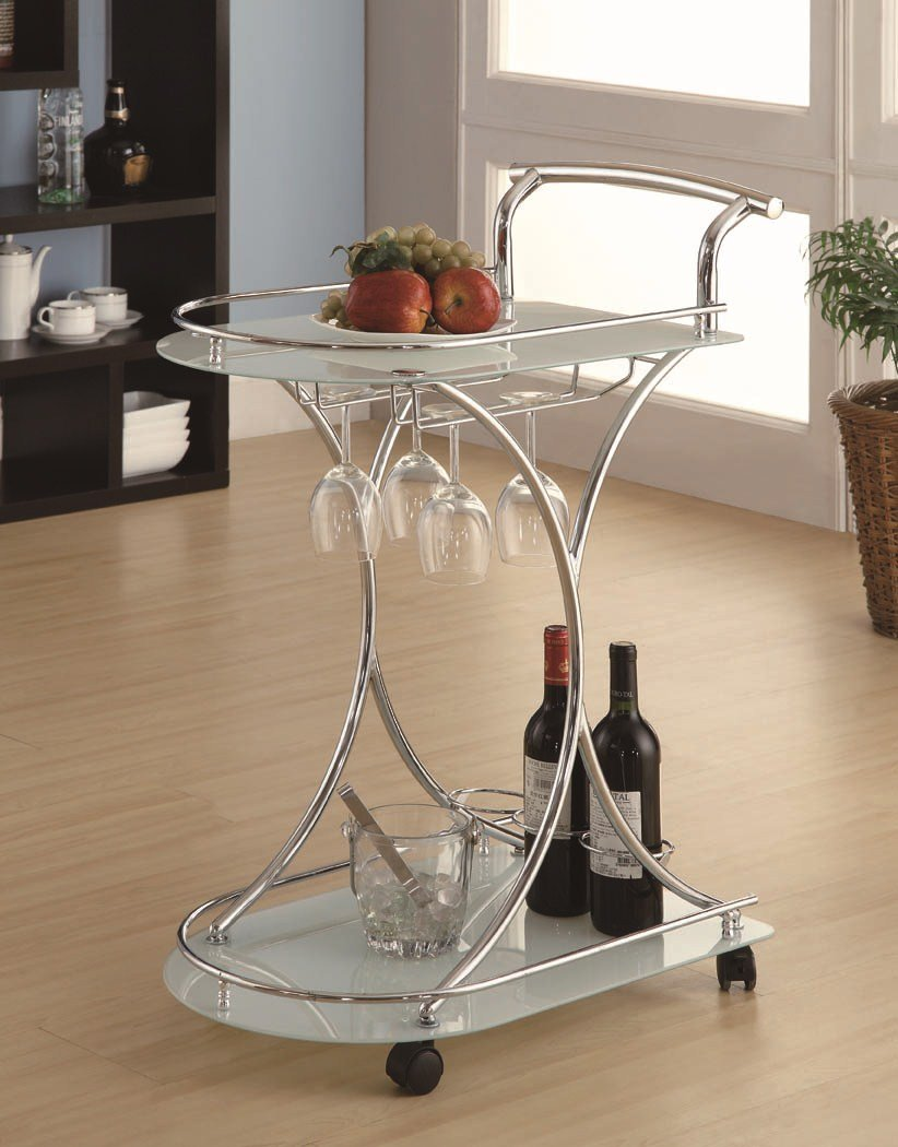 Monarch Specialties Tempered Glass Server with Castors