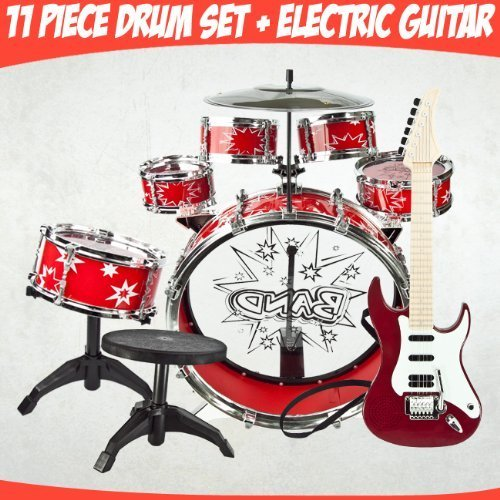 Red Electronic Kids Hot Rock Guitar w/ 4 Different rhythms, Great Quality 23 Inches Long + 11pc Kids Boy Girl Drum Set Musical Instrument Toy Playset