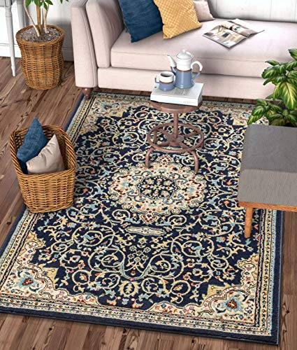 Well Woven Alexa Navy Blue Modern Medallion Area Rug Updated Traditional Persian Style 3x5 4x6 (3'11