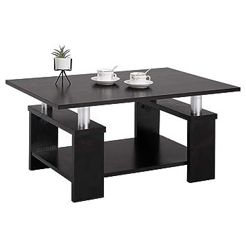 IDIMEX Table Basse de Salon Percy Table d\'appoint rectangulaire avec  Tablette inférieure, en mélaminé Noir Mat