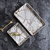 Wall of Dragon Storage Trays Marble Pattern Ceramics Table Minimalist Dessert Jelwery Storage Plate Office Desk Storage Trays Organizer