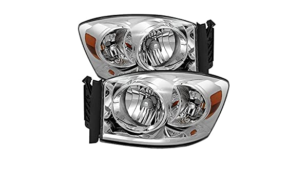 Jdragon for Dodge 2006-2008 Ram 1500 2006-2009 2500 3500 Black Housing Replacement Headlights Pair