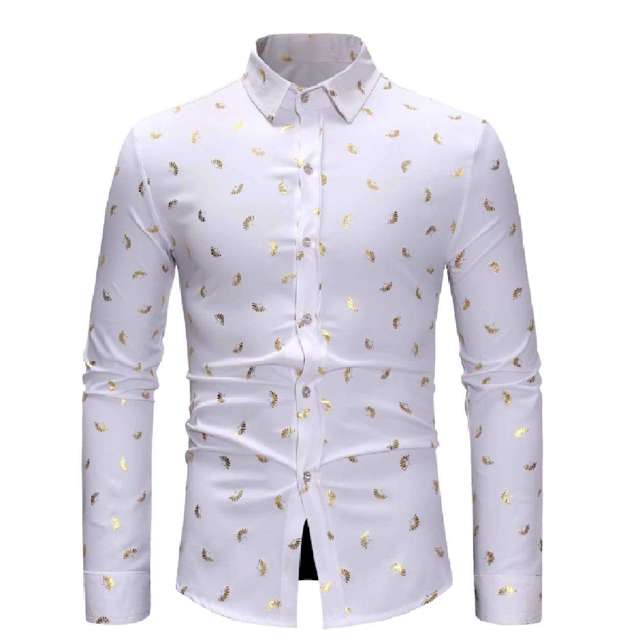 Abetteric Mens Long Sleeve Printed Button Down Classic Slim Fit Shirt Tops