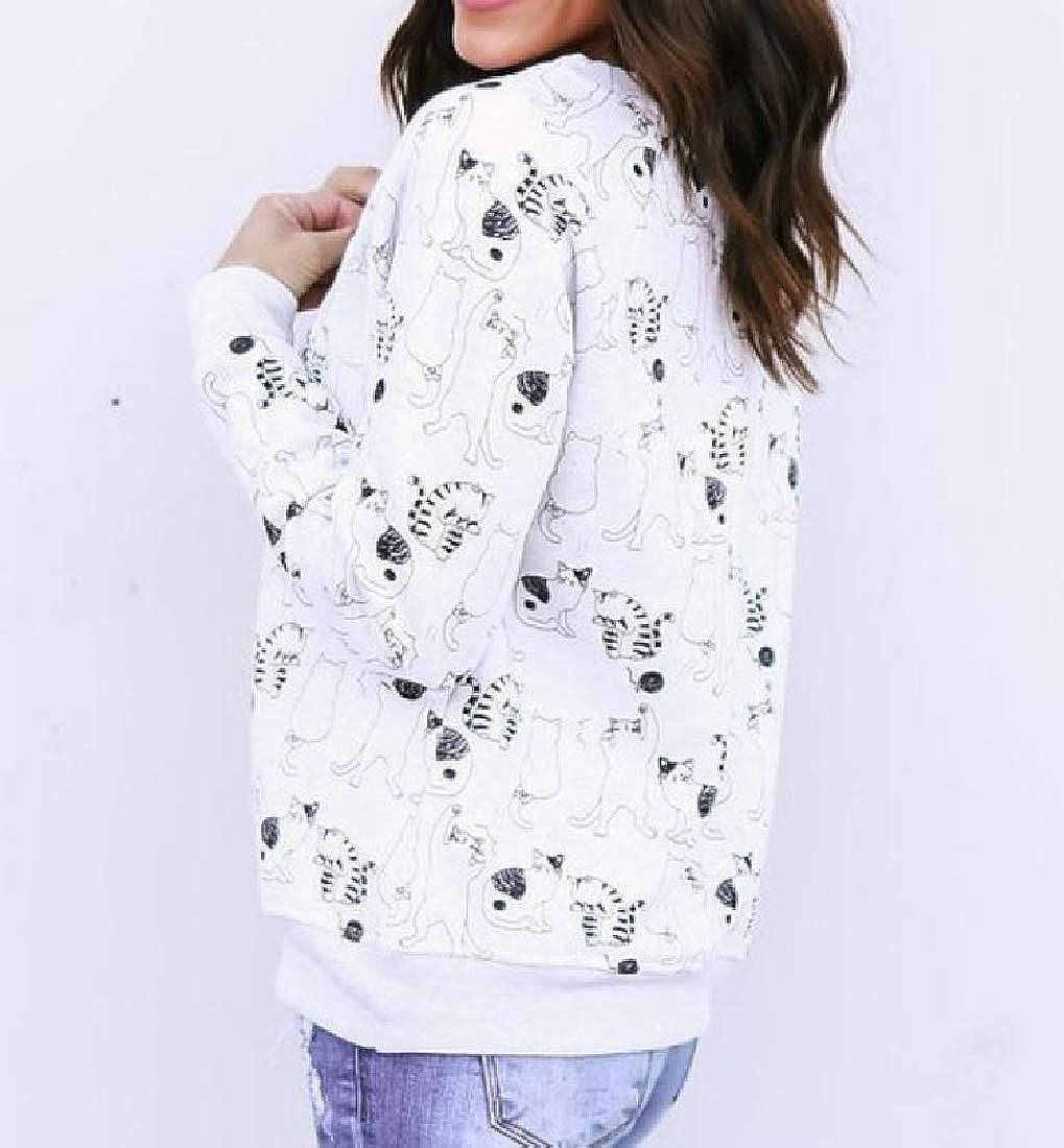 Kankanluck Women Pullover Animal Print Fashionable Sweatshirt Tunic Blouse