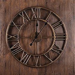 ZJM-clock Europe Retro Wall Clolck Cycle Roman Numerals Metal Clock Home Decoration Living Room 60cm