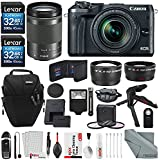 Canon EOS M6 Mirrorless Digital Camera with 18-150mm Lens Bundle with 2X 32GB + Telephoto & Wide-Angle Lens + Flash + Remote + Tripod + Filters + Camera Case & Strap + Xpix Lens Accessories