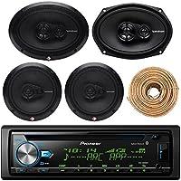 Pioneer DEH-X6900BT Car Bluetooth Radio USB AUX CD Player Receiver - Bundle Combo With 2x Rockford Fosgate 6.5 Inch 180 Watt & 2x 6x9 260-Watts 3-Way Coaxial Speaker + Enrock 50Ft 18g Speaker Wire