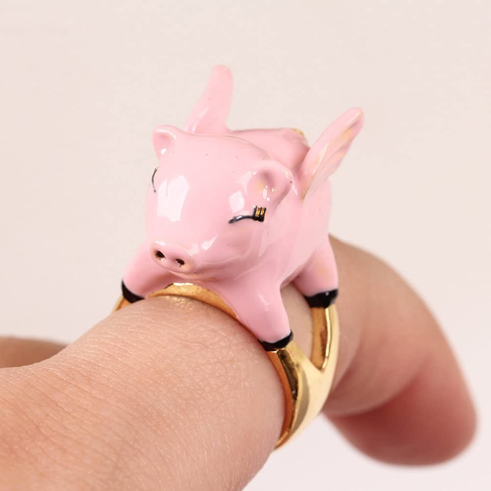 JAJAFOOK Gold-Tone Enamel Adorable Piglet Statement Party Cuff Ring Pink,Open Cuff Forefinger Rings