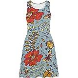 XS-3XL InterestPrint Womens Sleeveless Sundresses Fancy Flowers Sleeveless Flared Tank Dresseses