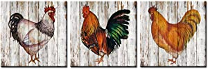 Nachic Wall - Farm Animal Wall Decor 3 Piece Retro Rooster Hen Painting Canvas Print Art in Vintage Wood Style Modern Farmhouse Countryside Home Decorations Gallery Canvas Wrapped Ready to Hang
