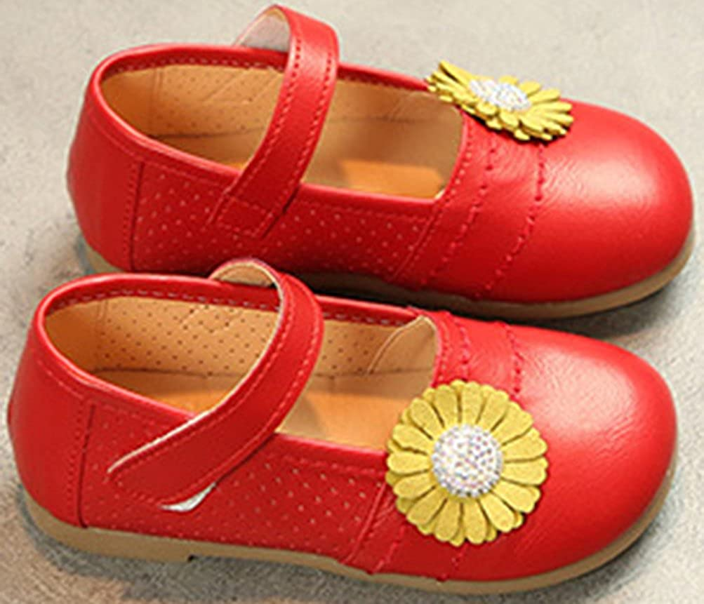 Toddler//Little Kid VECJUNIA Baby Girls Dressy Flowers Rhinestones Perforated Breathable Hook-and-Loop Mary-Jane Shoes