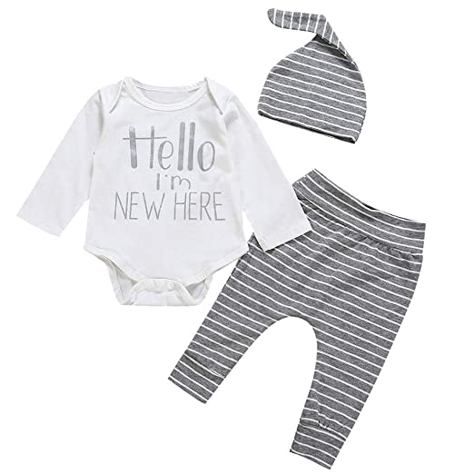 Amazon.com  Pumsun ❤ Infant Baby Boys Girls Long Sleeve Letter Romper+Hat+Shorts  Outfit Clothes 3PCS  Clothing 695ca418f81e