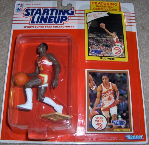 All Star Sports Collectibles - Starting Lineup Sports Super Star Collectible Figure with Rookie Card - Atlanta Hawks Spud Webb1990 Edition -