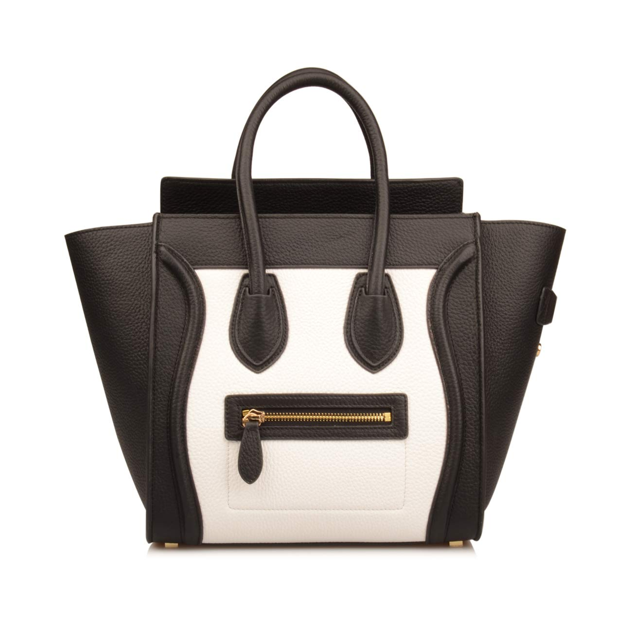 Ainifeel Women's Genuine Leather Smile Top Handle Handbag Purse (Medium, Black/white)