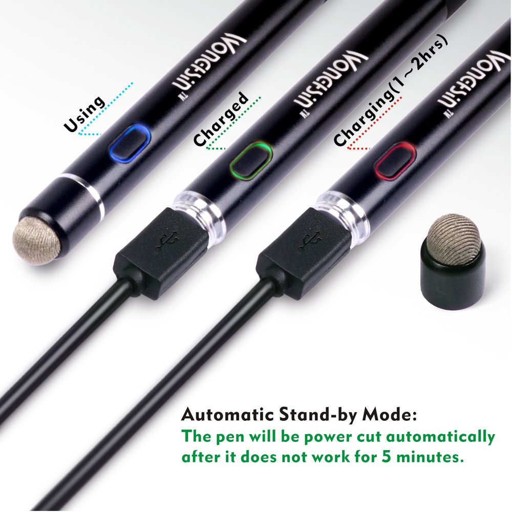 Active Stylus Pen, Wonghsin Digital Pen with Fine Point 1.6mm Copper Tip and Conductive Fiber Tip Cap 2 in 1 for iPhone/iPad/ Samsung and Most Android Capacitive Touch Screen Devices (Black) by wonghsin (Image #5)