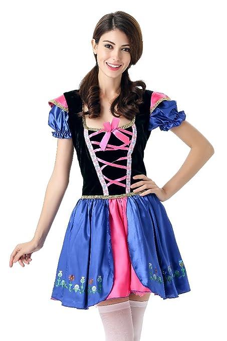 BOZEVON Disfraz de Baviera Mujer Vestido de Oktoberfest Cosplay ...