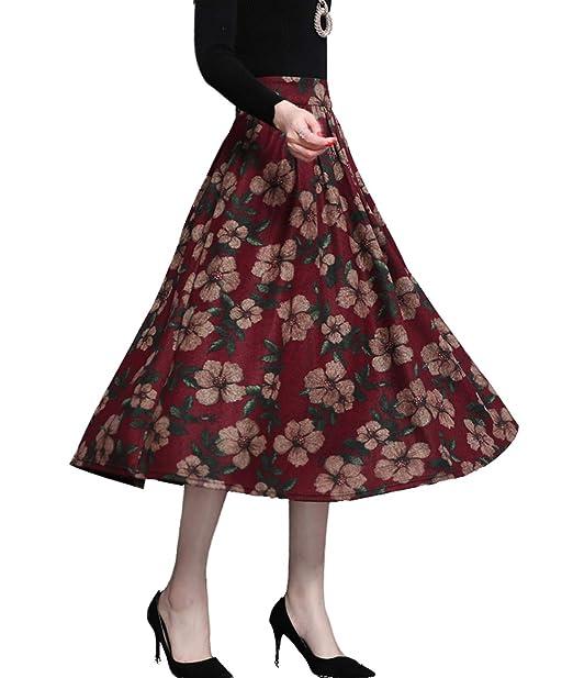 466245b3f5 Femirah Women's Wool Midi Skirt Vintage Floral Skirt Fall Winter Swing  Skirts (Waist 64cm/