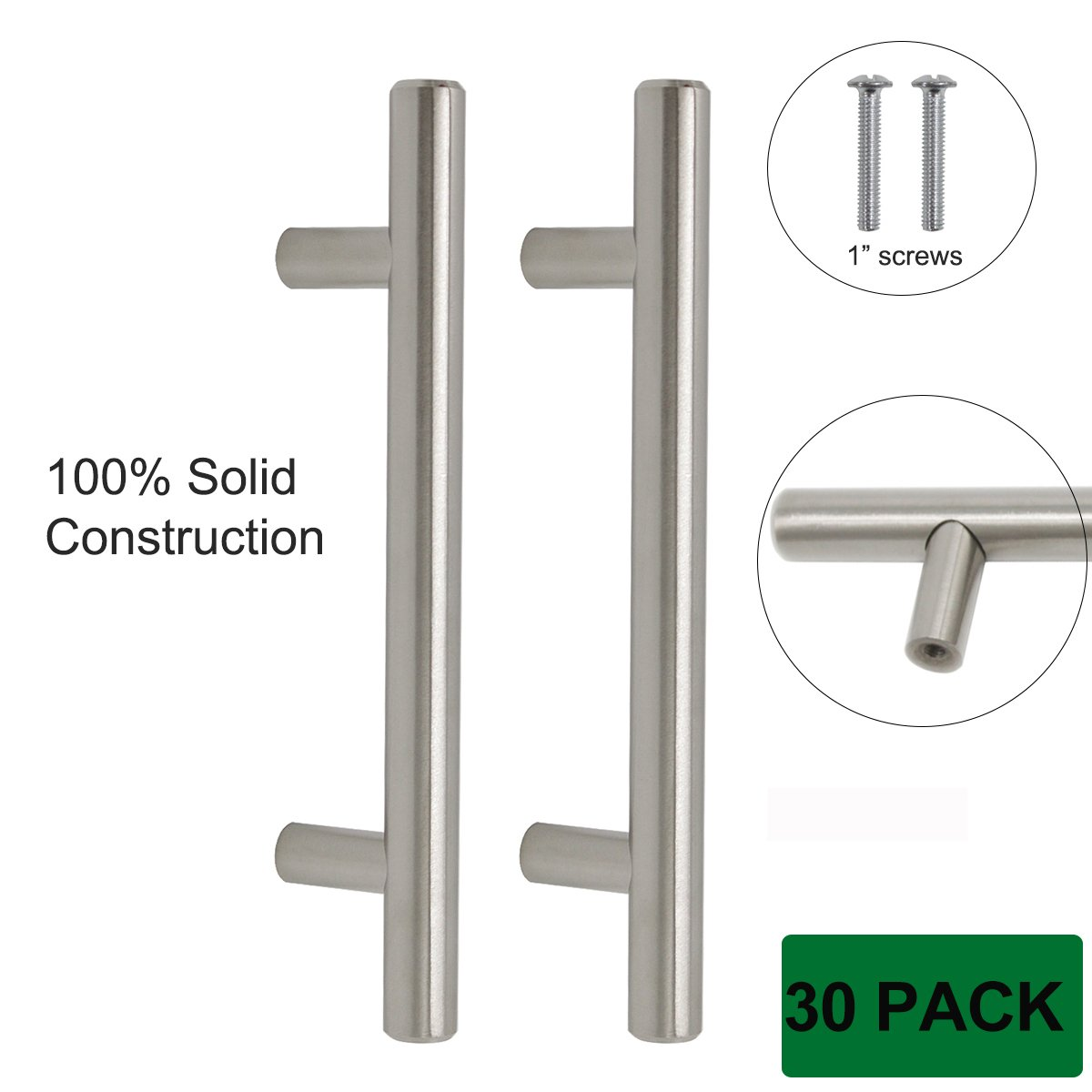 Probrico Cabinet Hardware Pulls and Handles SOLID Stainless Steel Kitchen Knobs Brushed Nickel 30 Pack, 6 Inch Overall Length