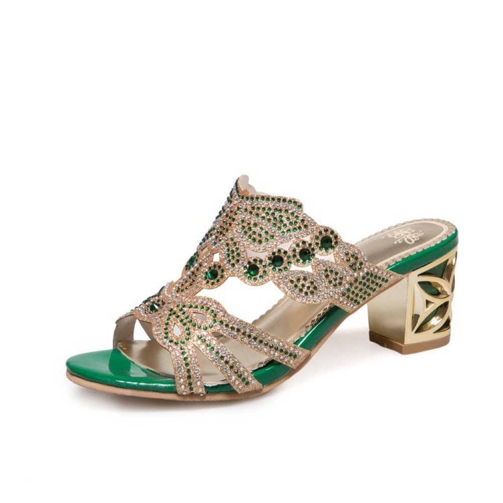 Damen High Heels Plateau Pantoletten mit Blumen Stiletto Sandalen Slipper Mules High Heels  40 EU|Green