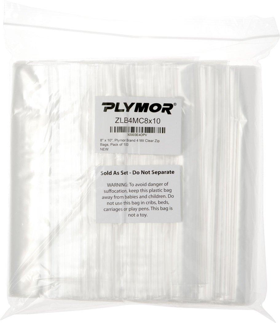 Plymor 8'' x 10'', 4 Mil (Pack of 100) Heavy Duty Plastic Reclosable Zipper Bags