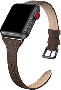 SWEES Leather Band Compatible for iWatch 38mm 40mm, Slim Thin Vintage Genuine Leather Strap Compatible for iWatch Series 6, 5, 4, 3, 2, 1, SE, Sport & Edition Women, Retro Brown