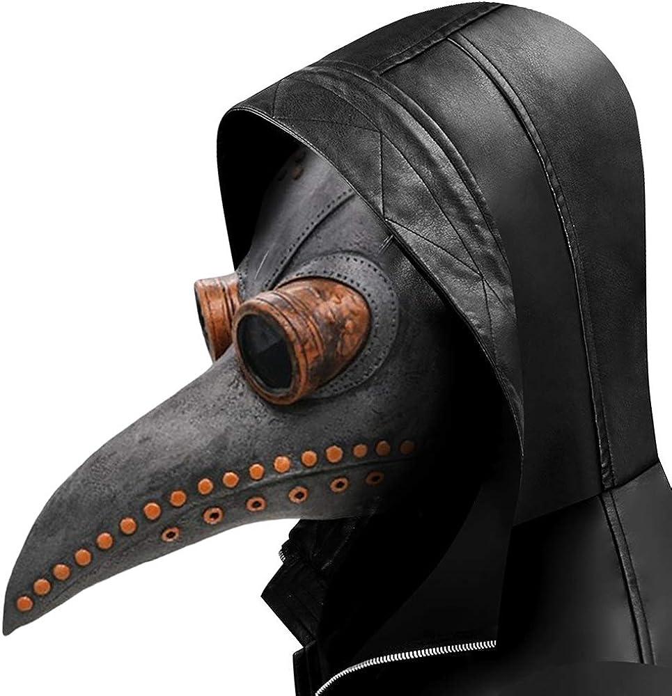 Lifreer - Máscara de pájaro para fiesta de Halloween, látex suave, punk, cosplay, pico de pájaro, máscara ajustable, para Halloween, fiesta, color gris