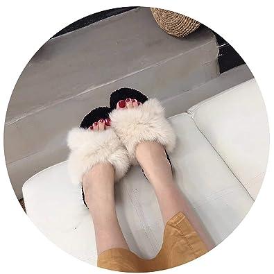 1d9ba099d Women Real Fur Slippers Summer Fashion Mink Fur Furry Flat Sandal Shoes  Beach Flip Flops,