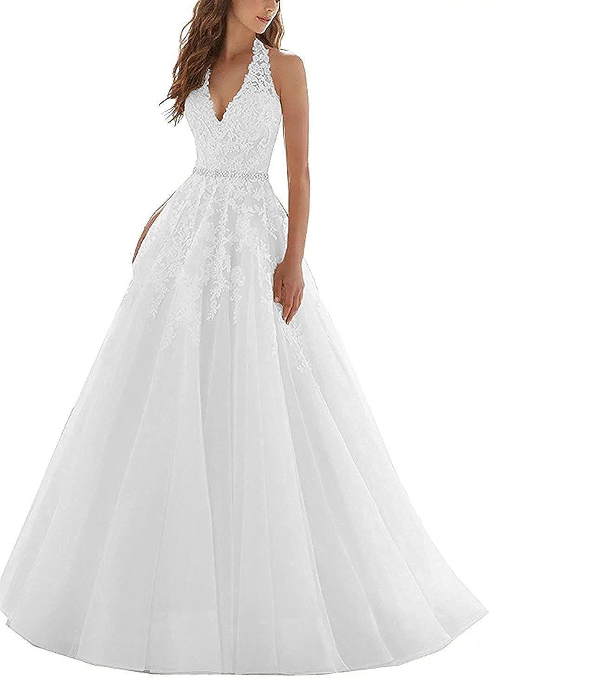 JoyVany Womens Tulle V-Neck Wedding Dress 2019 Long Bridal Ball Gown for Bride JW013