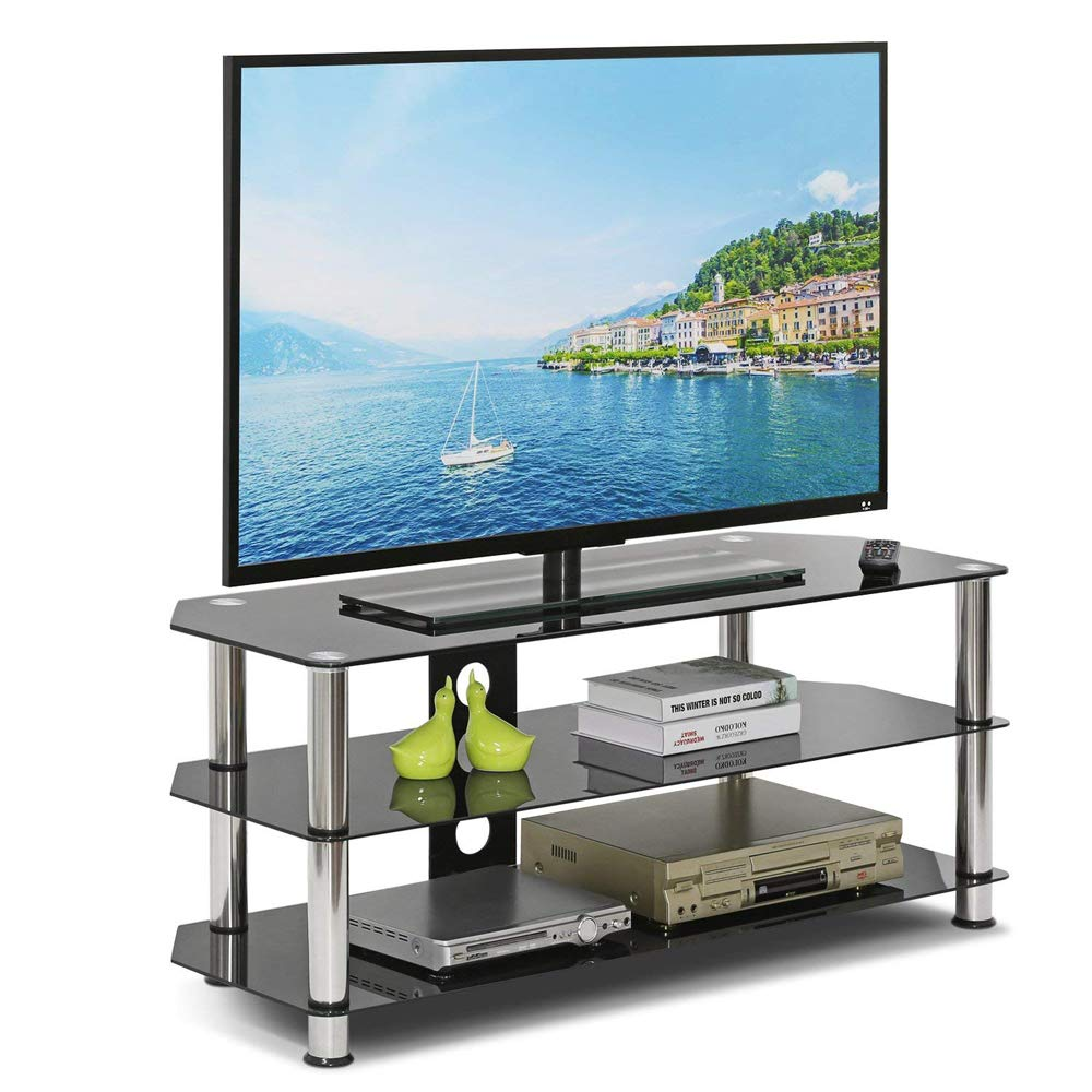 "free shipping 090fd e2669 Leisure Zone Glass TV Stand Table Unit Corner TV Stand Cabinet with  Tempered Glass Shelf for 32""-60"" Plasma/LCD/LED/3D Black"