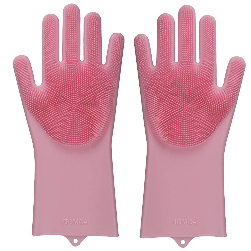 HOMCA - Guanti in silicone con spaventapasseri, resistenti al calore, riutilizzabili per la pulizia, per la casa, per lavare le stoviglie (13,6grandi, una coppia) 6grandi