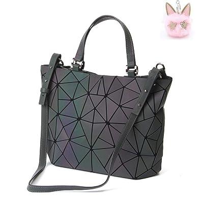 Amazon.com  LOYOMA Geometric Luminous Purse Large Satchel Bag Holographic Tote  Top Handle Handbag Rainbow Shoulder Bags (Style One)  Shoes 1225765da753e