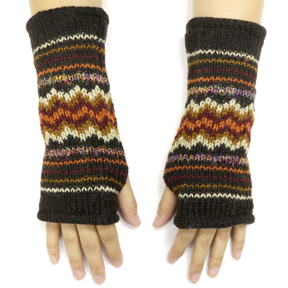 CFrost Women's Hand Knit Zig Zag Fuzz Fingerless Arm Warmer Gloves