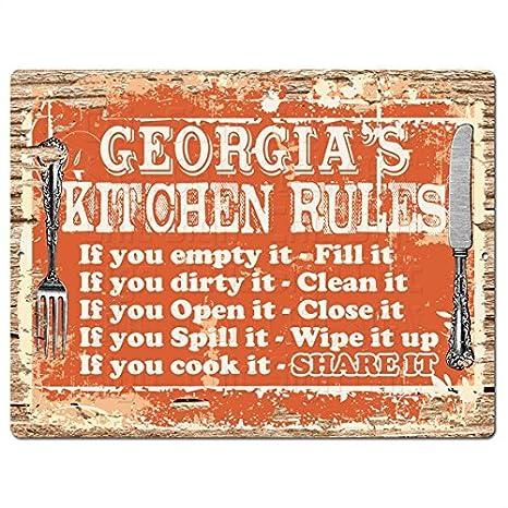 amazon com welcome georgia s kitchen rules funny decorative sign