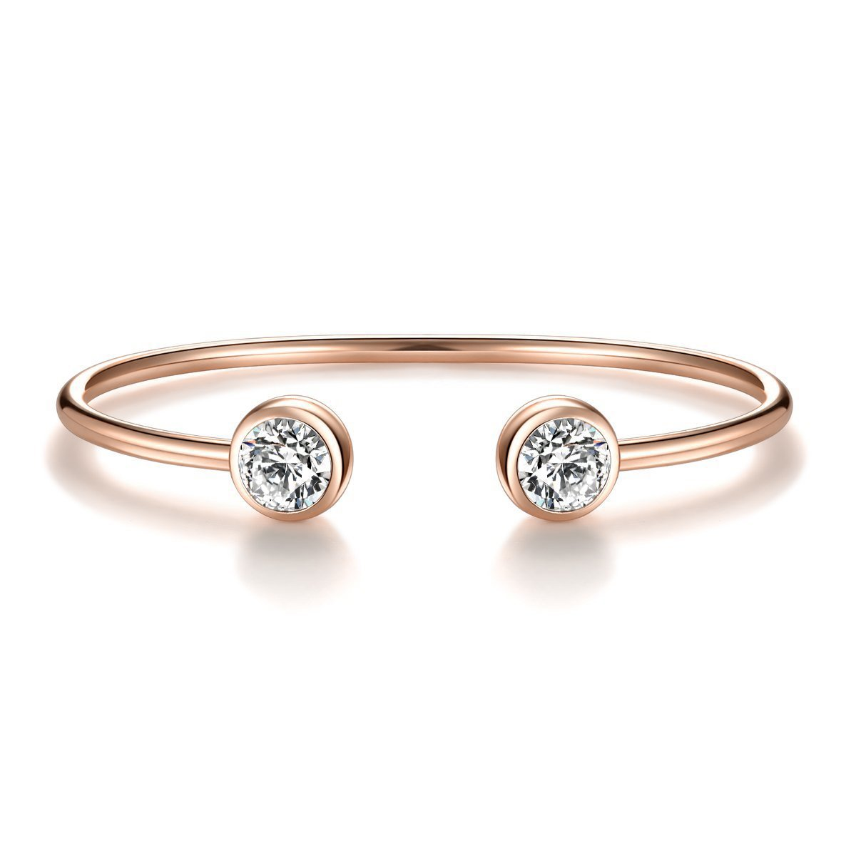 ISAACSONG.DESIGN Rose Gold Silver Tone Cuff Bangle Bracelet Zirconia Crystal Stone Jewelry for Women (Rose Gold)