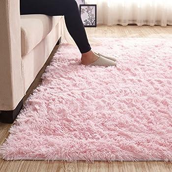 Amazon Com Maxyoyo Pink Shaggy Rug For Girl Room Decor