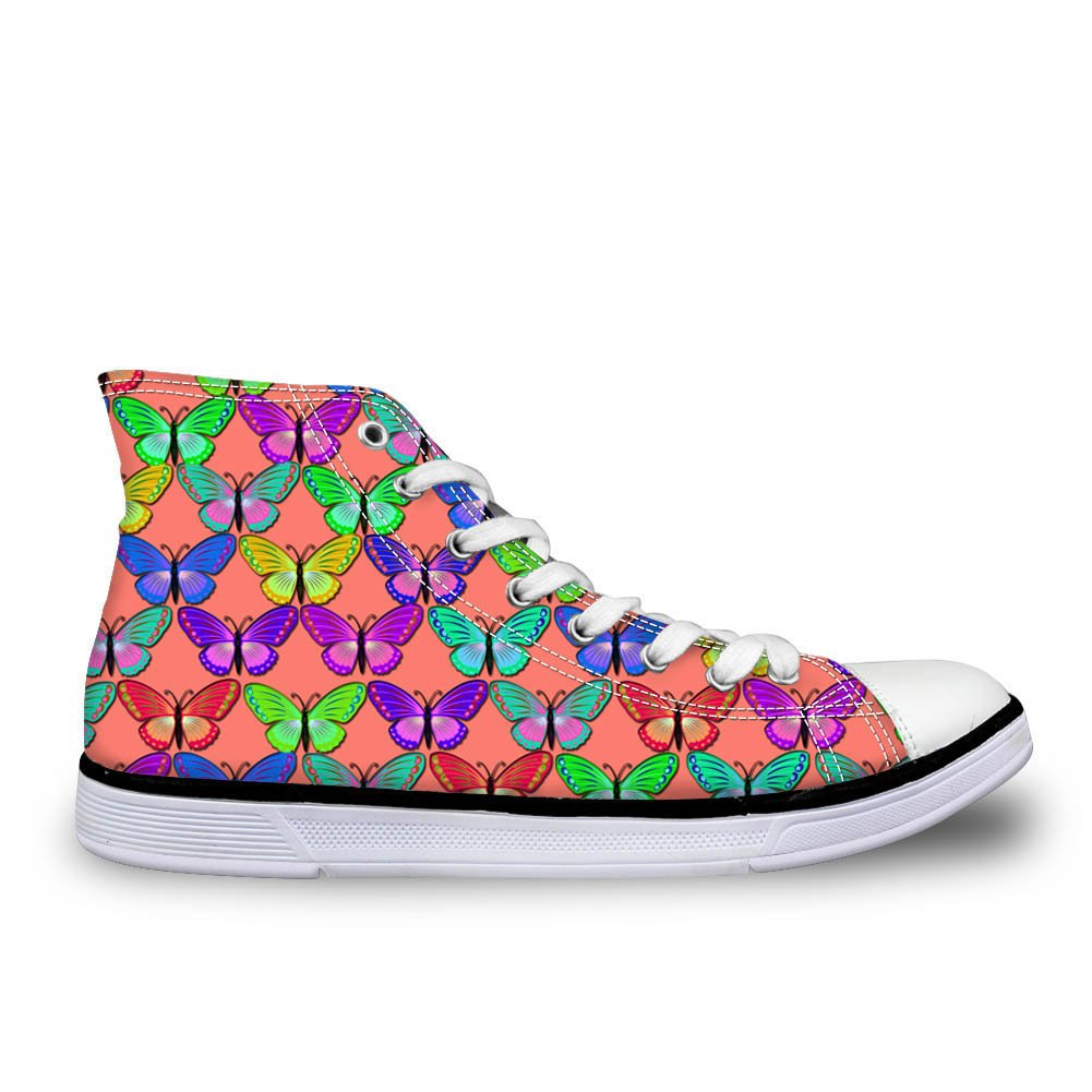 CHAQLIN Stylish Women Canvas Shoes High Top Butterfly Pattern Lace-Up Ladies Flat Training Sneakers