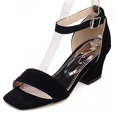 e063a9bab754 SFNLD Women s Fashion Faux Suede Low Cut Square Toe Ankle Strap Medium  Block Heels Sandals Black