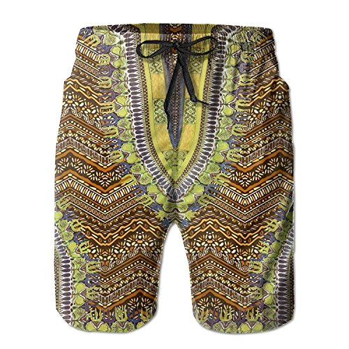 Bbalizko Mens African Dashiki Tribal Print Front Tie Boardshorts Swimwear Trunks (Medium, Yellow) (Tie Print Hippie)