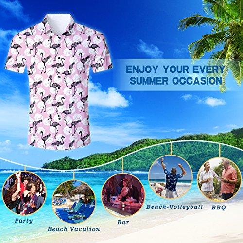Fenicotteri Fiori Tropicale Stampa Shirt Casual Uomo Da Camicia Hawaiana Ananas Estiva 3d Manica Corta Camicie Goodstoworld 6TqBUw