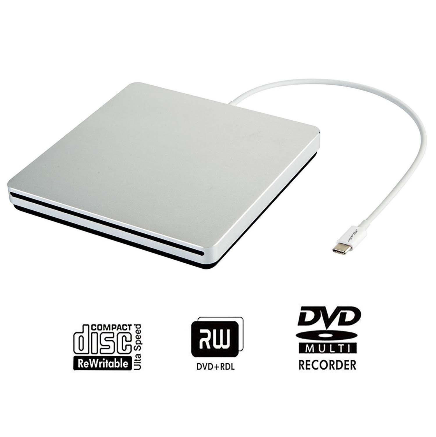 Tengertang usb-c super external drive, portable external CD/ dvd-rw Writer/Player/Burner for the latest macbook/ asus/ asus/ dell latitude/macbook Pro (silver) by tengertang