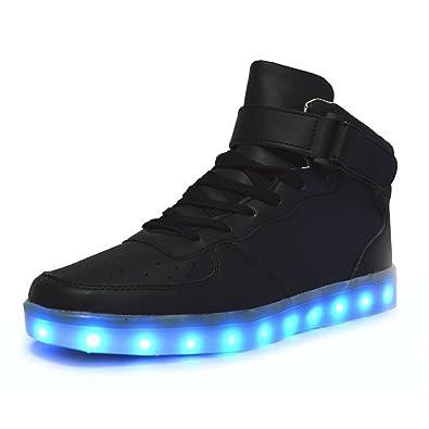 DoGeek Schuhe LED 7 Farbe USB Aufladen Leuchtend Sportschuhe LED Sneaker  Turnschuhe Unisex-Erwachsene Herren